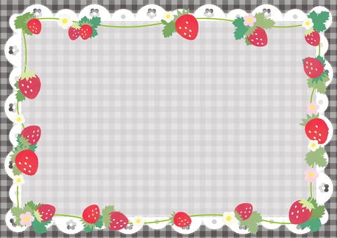 Strawberry gingham pattern background (black)