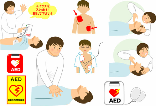 Cardiac massage, AED, emergency medical care