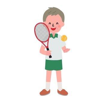 Grandpa plays tennis