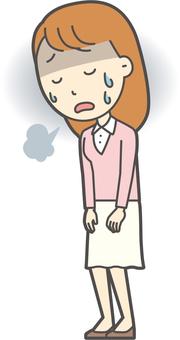 핑크 소녀 긴 머리 -135- 전신