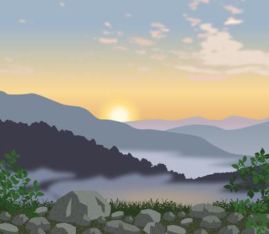 Nature scenery Morning burn illustration