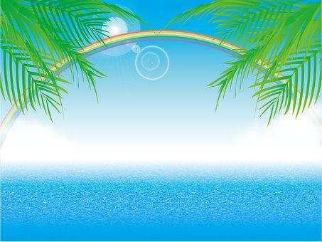 푸른 하늘과 태양과 바다와 무지개와 야자