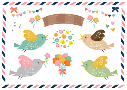 Birds and flower materials 2