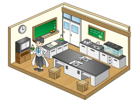 Science room and science boy
