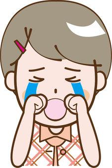 Girls short-sleeved crying