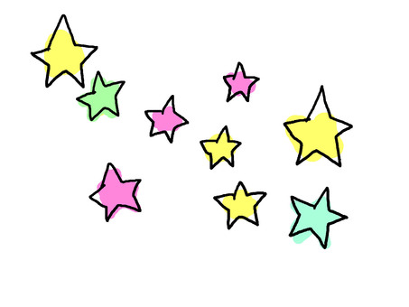 Colorful hand-drawn star