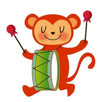 Monkey hitting a drum
