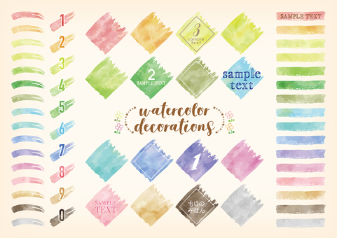 Watercolor touch character decoration set