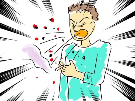 Person without sneeze etiquette