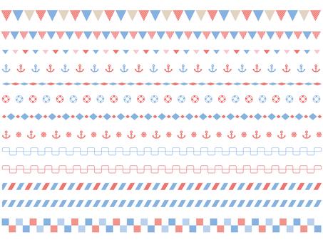 Set of marine style line