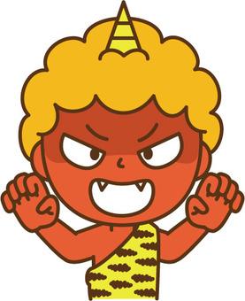 Threatening red demon
