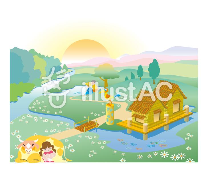 ややのお父さんの天国の家イラスト No 533708無料イラストなら