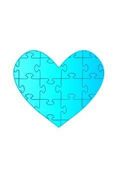 Heart puzzle (blue)