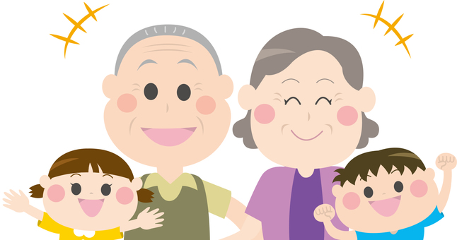 Old couple and grandson