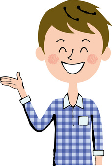 Smile Right hand guides Male upper body