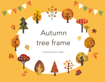 Scandinavian style autumn tree watercolor frame