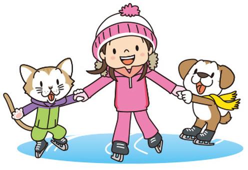 スケートする子供と動物