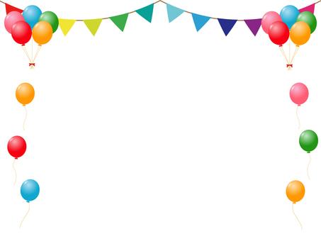 Balloons and garland decorative frames