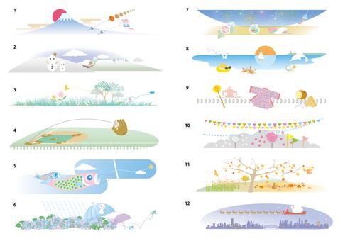 Seasonal illustration of 12 months per year