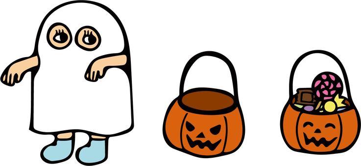 Halloween costume and pumpkin bucket