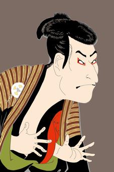 Third generation Otani Ogi next person Edo Kyubei _ Background gray