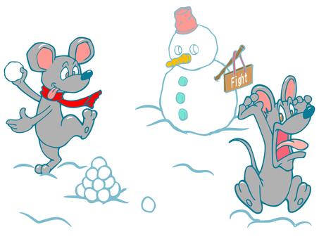 Rats fighting snow