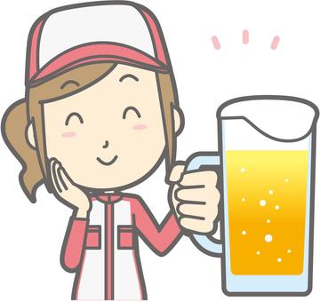 Mechanic woman - beer smile - bust