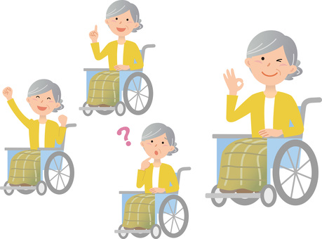70917.車椅子女性,一人,セット