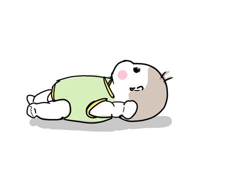 Baby lying down, horizontal angle