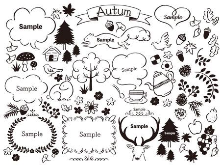 秋の森の手描きイラストセット