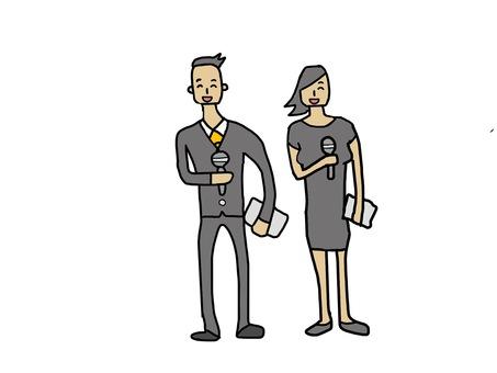 Presenter man and woman