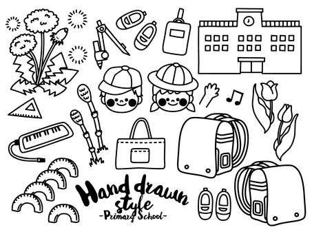 Hand-drawn style line art illustration set material <elementary school>