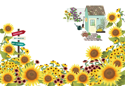 Sunflower and summer garden postcard