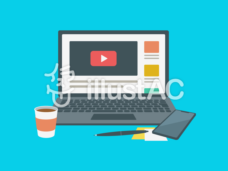 ノートパソコン 動画 画面のイラスト