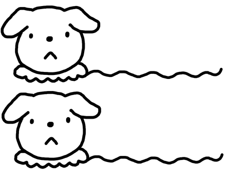 Dog wavy line drawing monotone