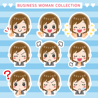 Business woman facial expression set (with border)