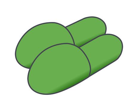 緑色のスリッパ
