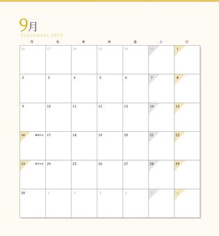 シンプルカレンダー2019年9月