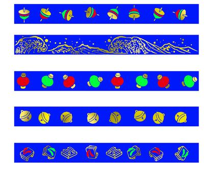 Japanese pattern set blue