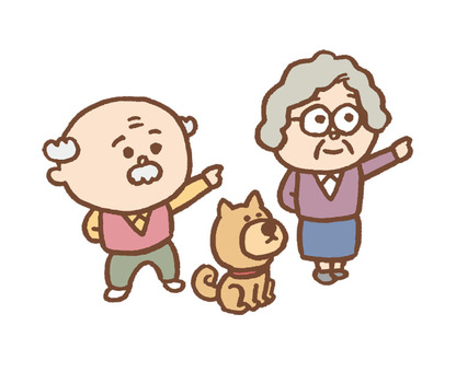 Old couple and dog
