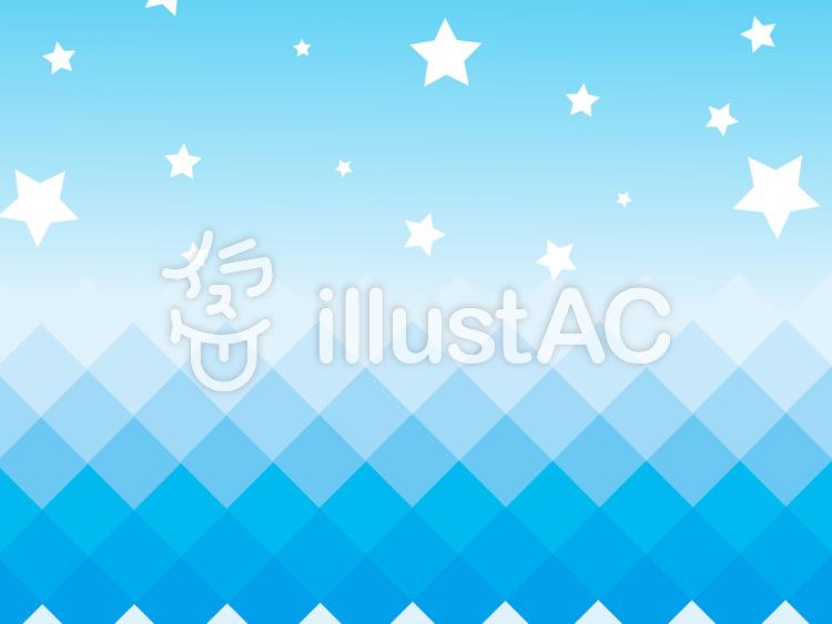 【フリーイラスト素材】 ギザギザ海と星