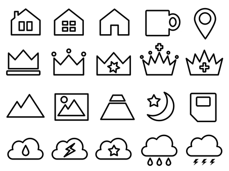Icons such as rankings, clouds, weather, cups etc