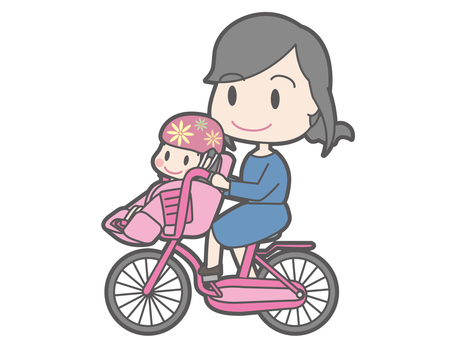 Mom who rows a bicycle with a girl