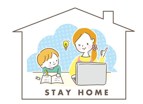 Stay home parent and child mom boy