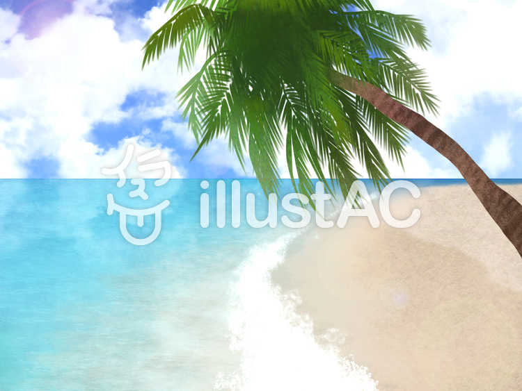【フリーイラスト素材】浜辺とヤシの木と穏やかな海