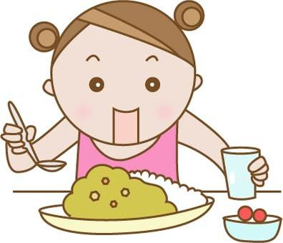 Child to eat curry rice