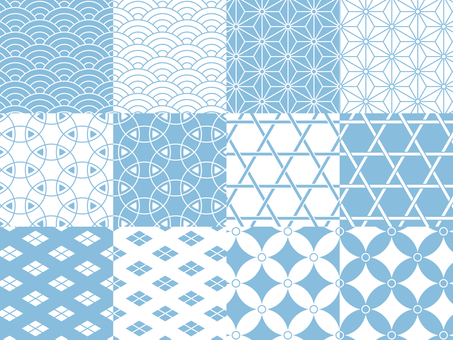Japanese pattern pattern sky blue