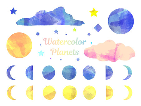 Colorful watercolor celestial body