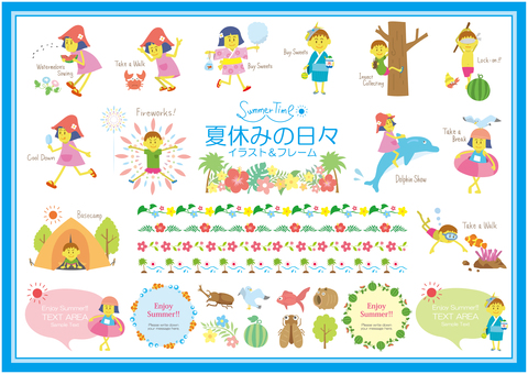 Summer child illustration SET