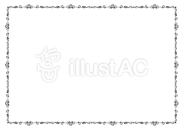 エレガント可愛い飾り枠白黒イラスト No 無料イラストなら イラストac